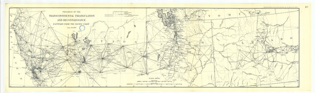 18 x 24 inch 1887 US old nautical map drawing chart of 15. Parts of Sections X and XVI. Progress of the transcontinental triangulation and recon- From  US Coast & Geodetic Survey x352