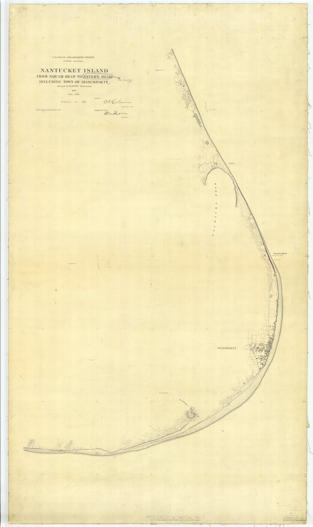 18 x 24 inch 1887 US old nautical map drawing chart of Nantucket Island From Squam Head to Nevers Head including Town of Siasconsett From  US Coast & Geodetic Survey x2232