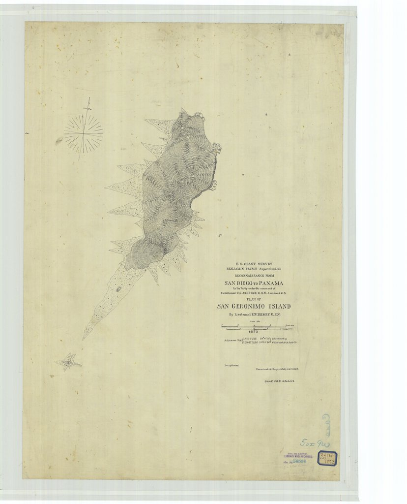 18 x 24 inch 1873 US old nautical map drawing chart of Reconnaissance From San Diego to Panama, Plan of San Geronimo Island From  U.S. Coast Survey x199