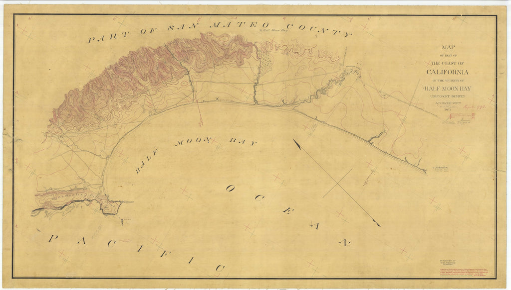 18 x 24 inch 1861 US old nautical map drawing chart of Vicinity of Half Moon Bay, California From  U.S. Coast Survey x1686