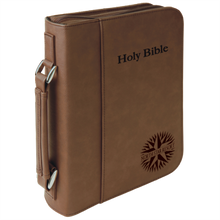 "Bible Cover, Leatherette with Handle and Zipper.  6 3/4"" by 9 1/4"""