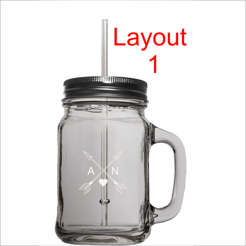15 oz. Mason Jar with lid and straw