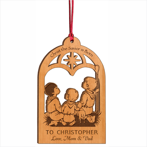 Wood Shepherds Christmas Ornament