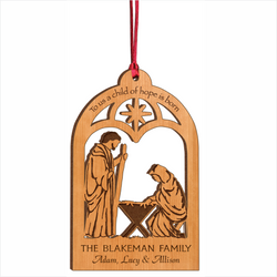 Wood Manger Christmas Ornament