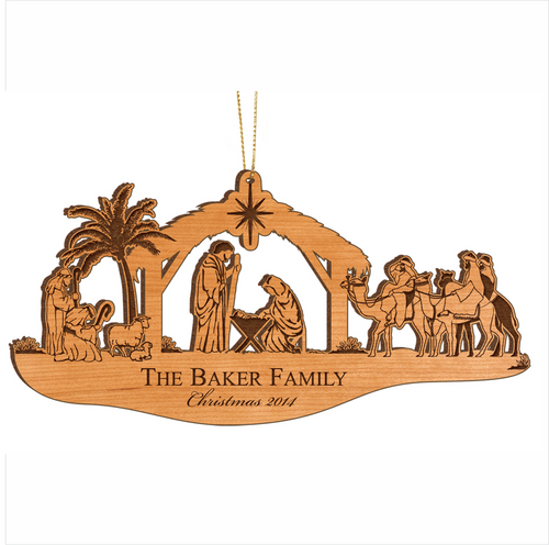 Wood Nativity Christmas Ornament