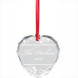 Heart Shaped Crystal Christmas Ornament