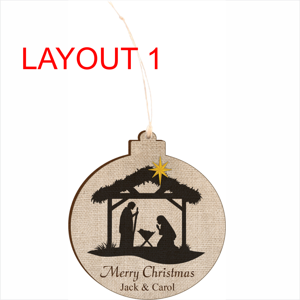 Round Nativity Christmas Ornament