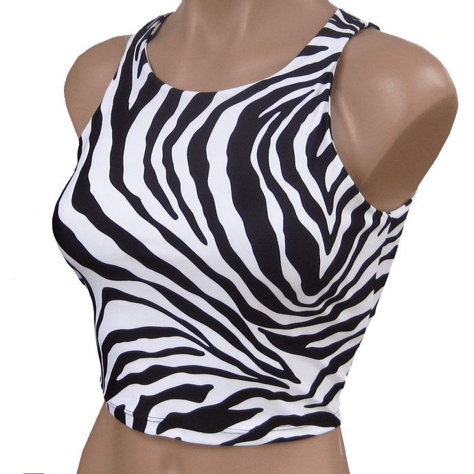 Everywear Activewear Crop Zebra Black and White for hot yoga and hot Pilates