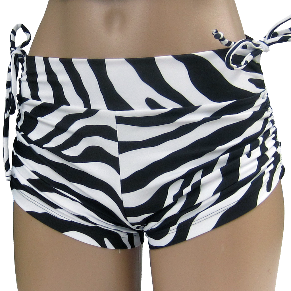 Everywear Activewear String Shorts Zebra Black and White for hot yoga and hot Pilates