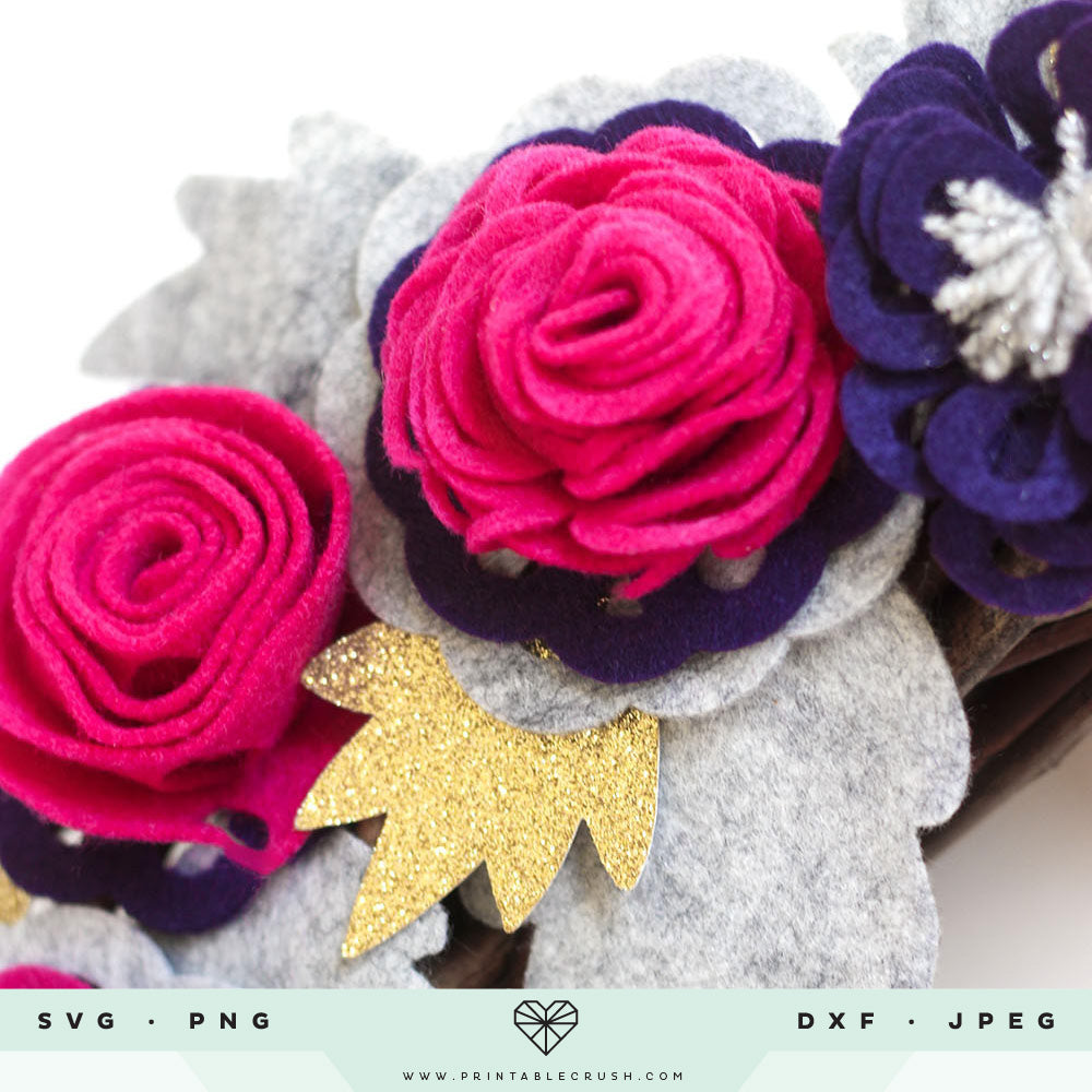 3D Roses SVG Files with 9 BONUS Leaves and accent images