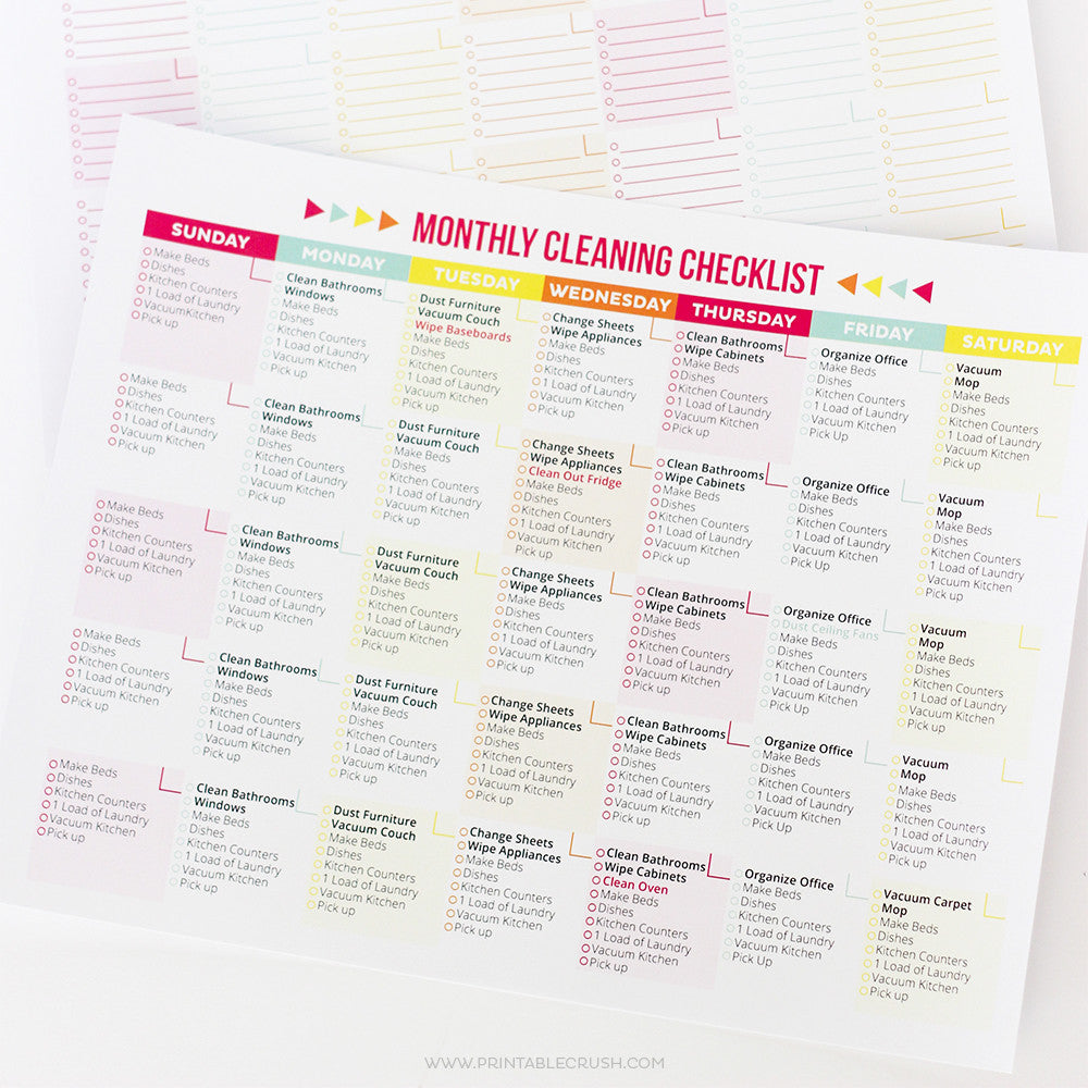 Editable Printable Cleaning Schedule and Checklist