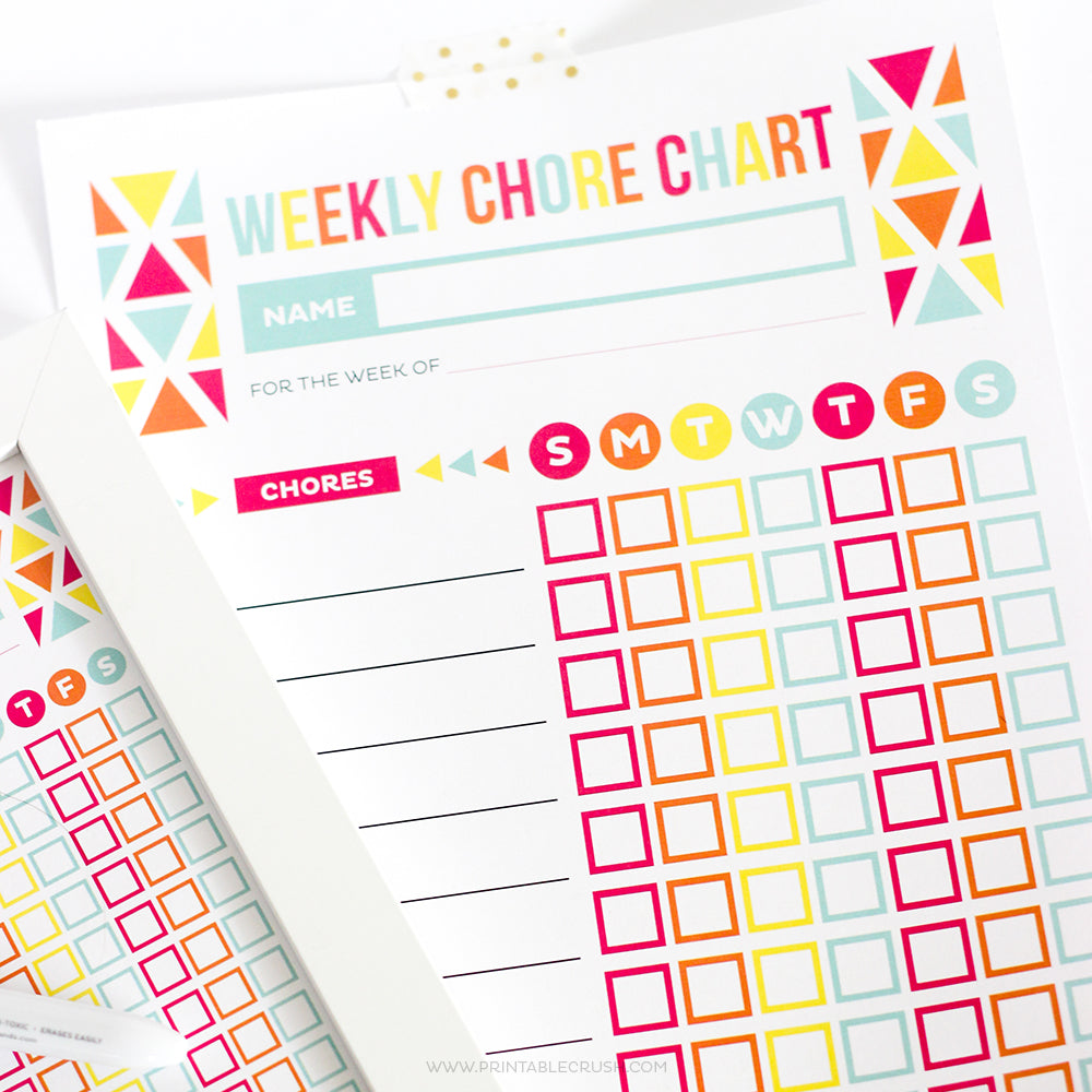 editable chore chart for kids printable crush