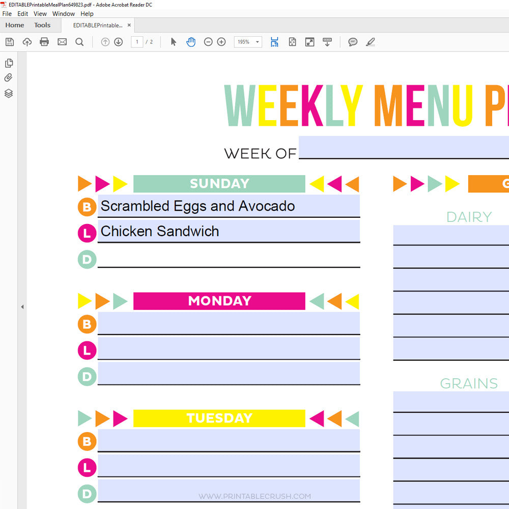 editable planners printable crush