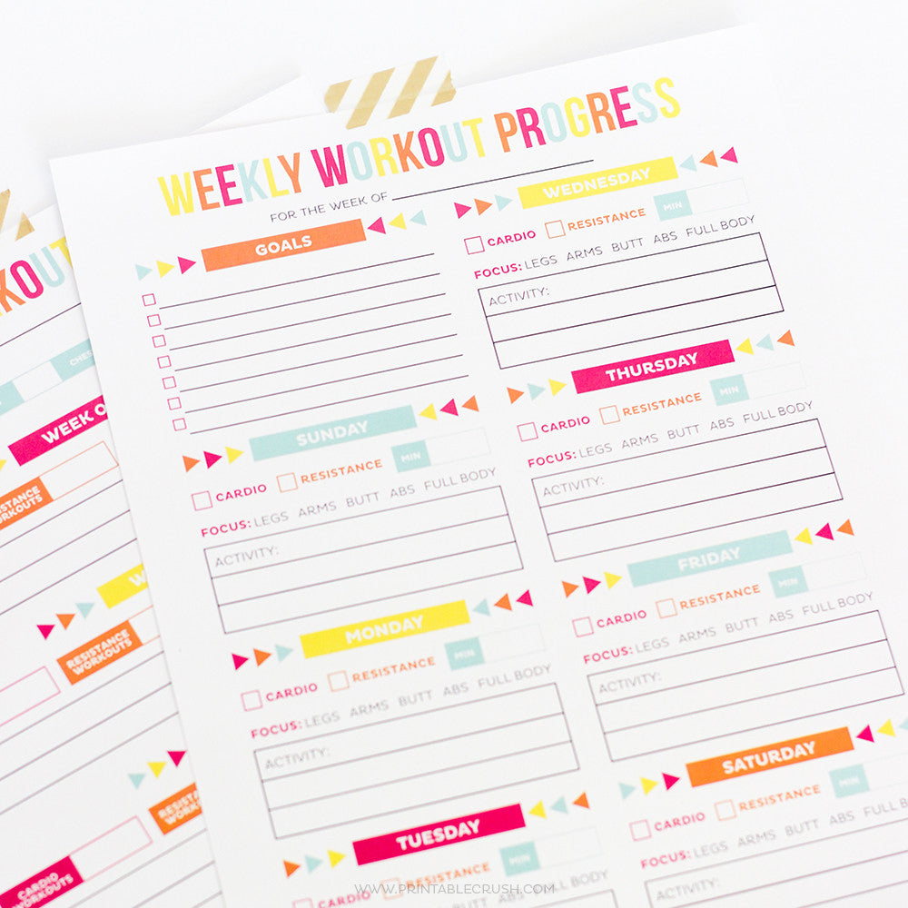 editable printable workout schedule
