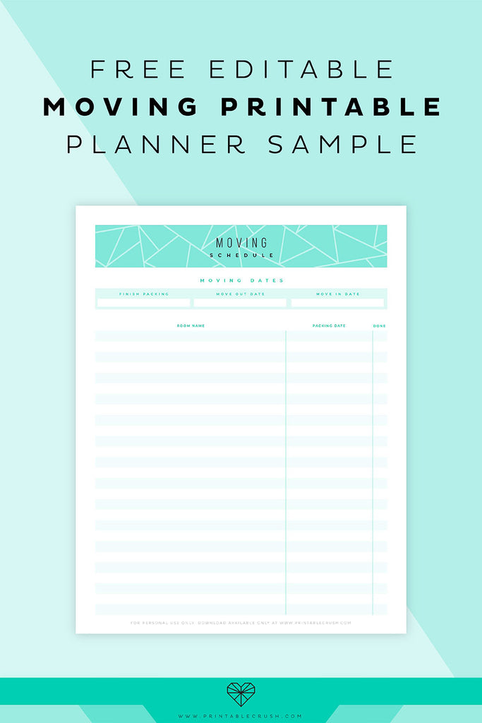 FREE Moving Planner Sample Page