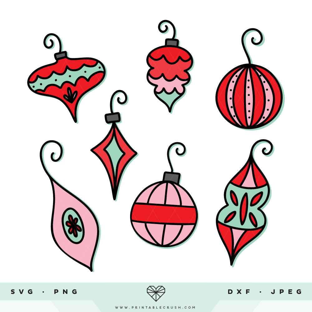 Vintage Christmas Ornament SVG Files