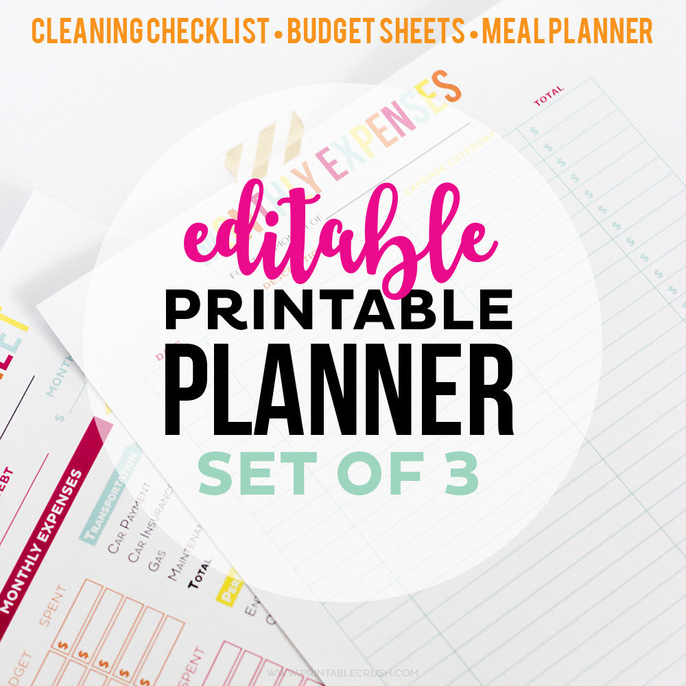 Editable Printable Set of 3 (20%off!)