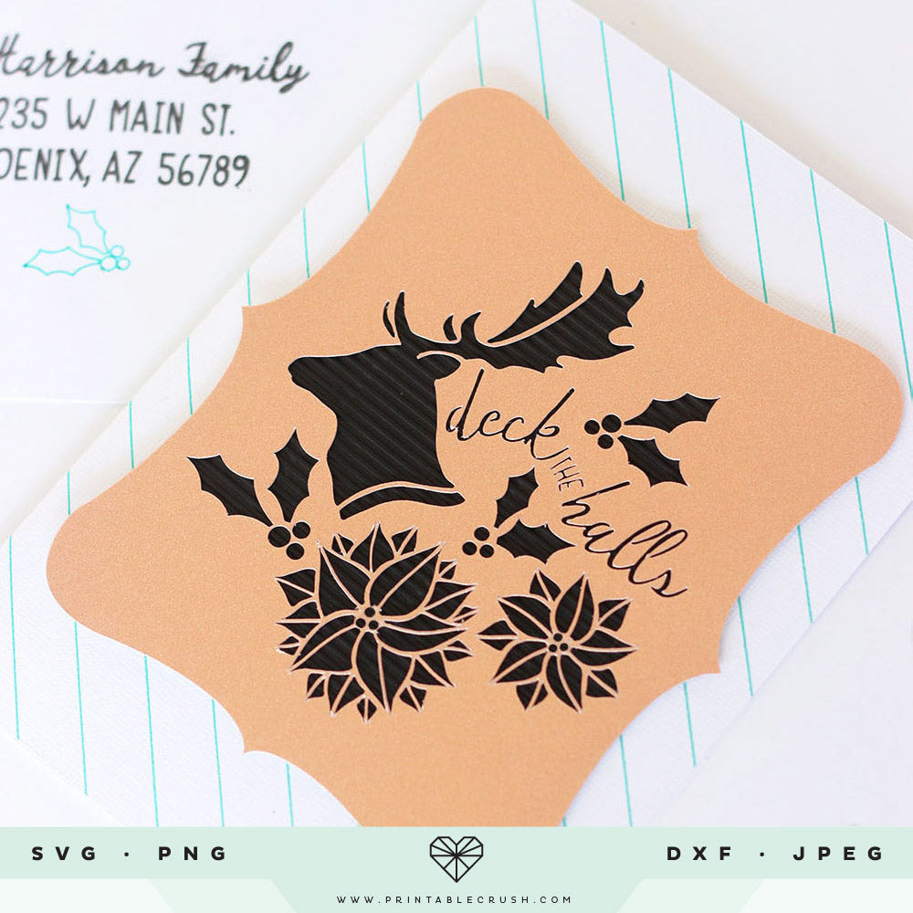Stag and Poinsettia Christmas SVG File