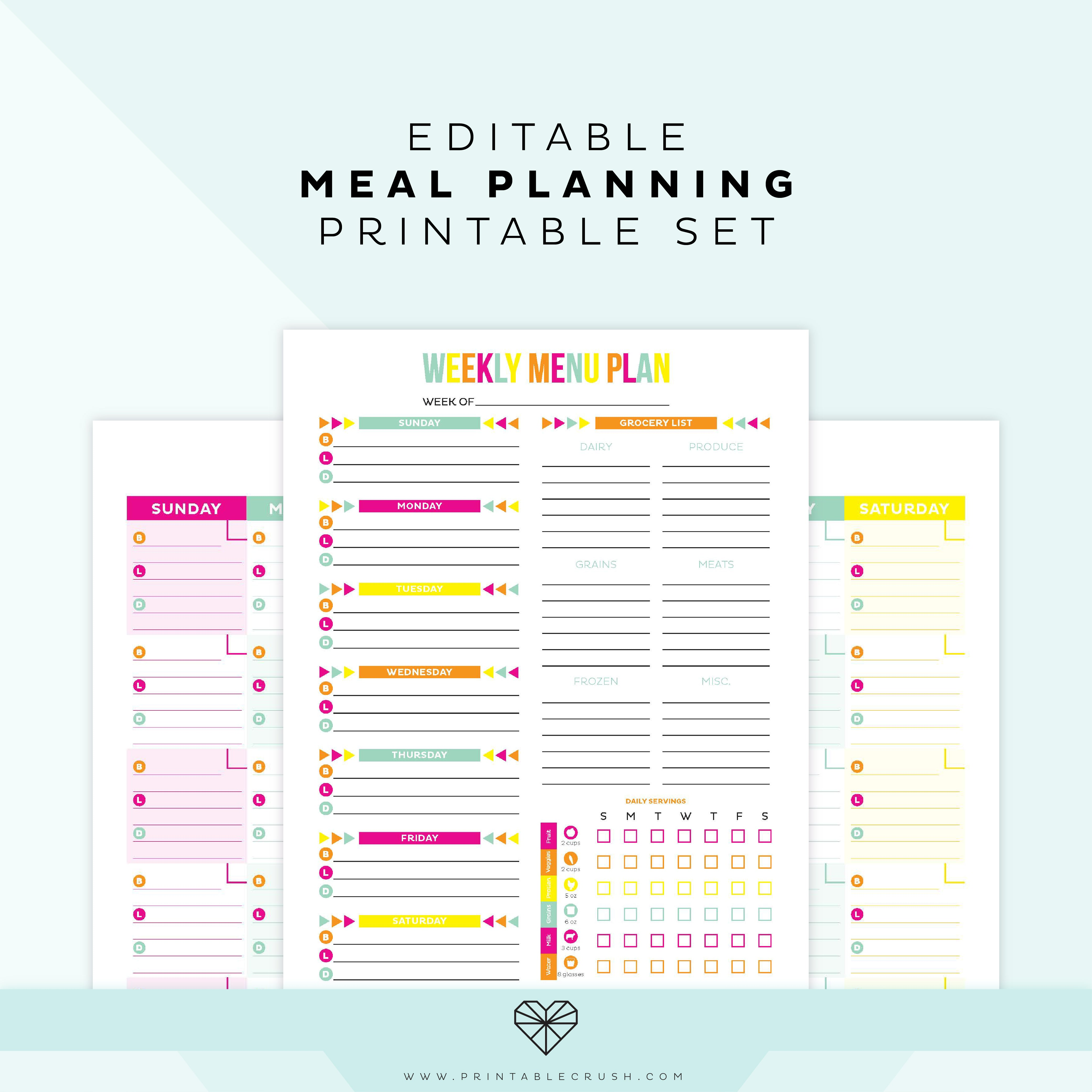 photo relating to Weekly Meal Plan Printable titled Editable Evening meal Software Printable Printable Crush
