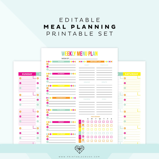 photo relating to Printable Meal Plan titled Free of charge Printable Weekly Evening meal Planner - Printable Crush