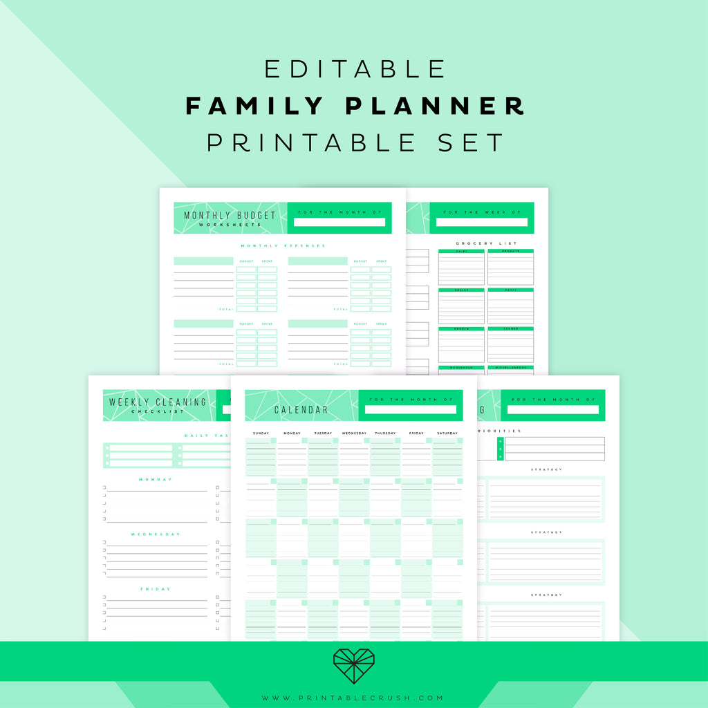 Editable Family Planner Printable Set