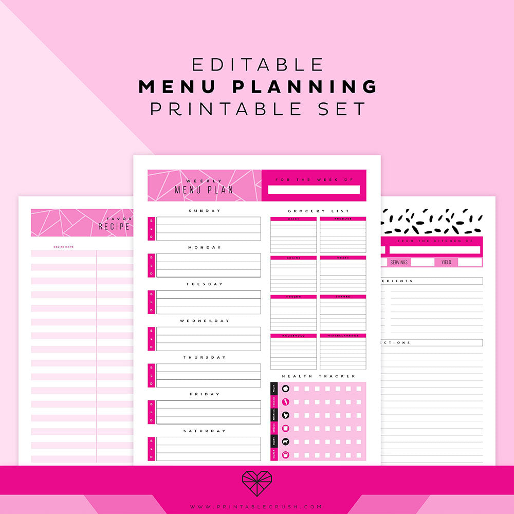 Editable Menu Plan Printable Set