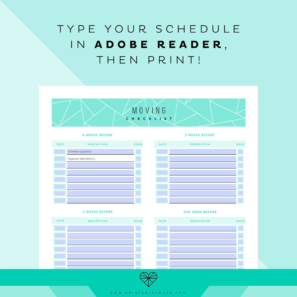 Editable Moving Printable Planner Set