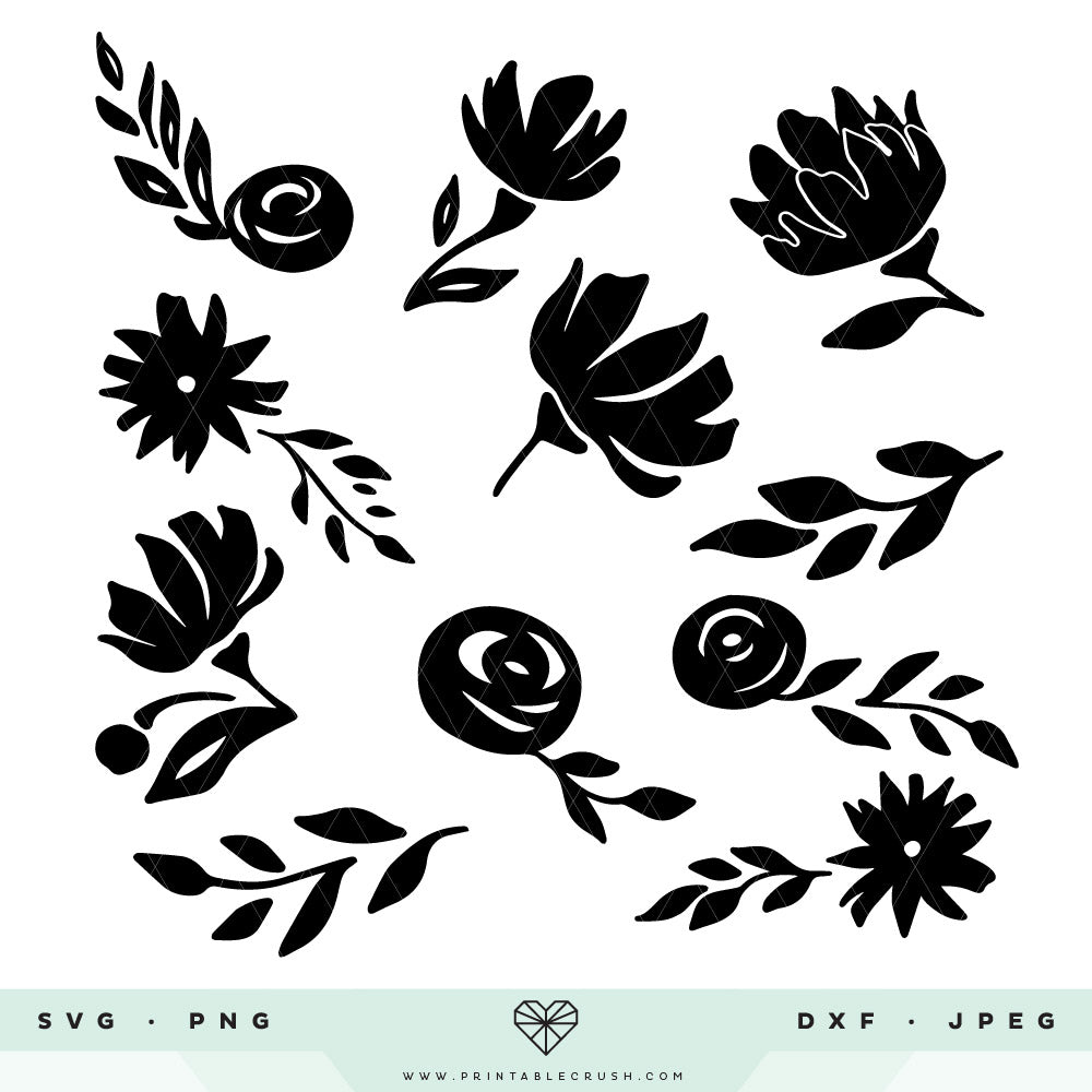 11 Whimsical Floral SVG Cut Files