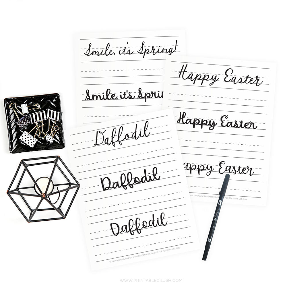 April Hand Lettering Worksheets