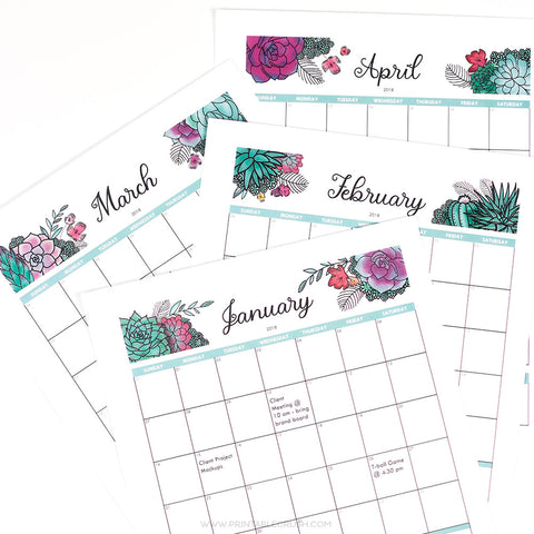 Succulents Editable 2018 Monthly Calendar
