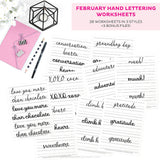 February Hand Lettering Worksheets