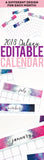 Galaxy Editable 2018 Monthly Calendar