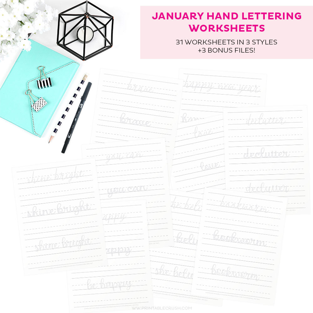 January Hand Lettering Worksheets