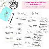 June Hand Lettering Worksheets