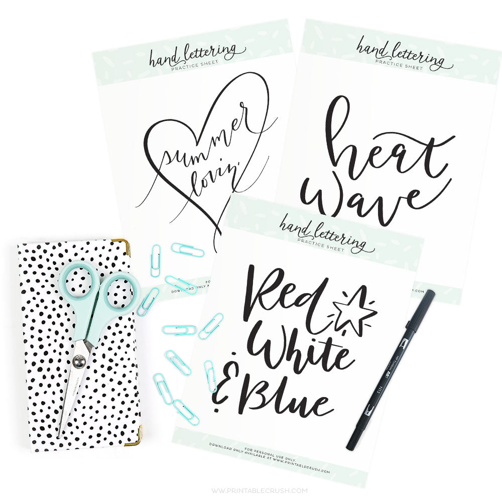 July Hand Lettering Worksheets
