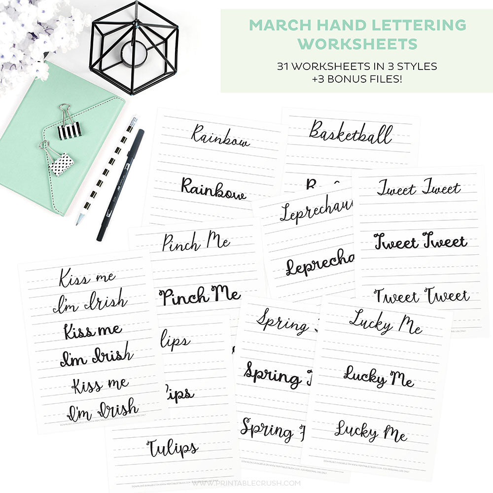 Get started with your Hand Lettering new year's goals with these March Hand Lettering Worksheets!