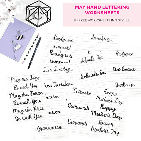 FREE May Hand Lettering Worksheets