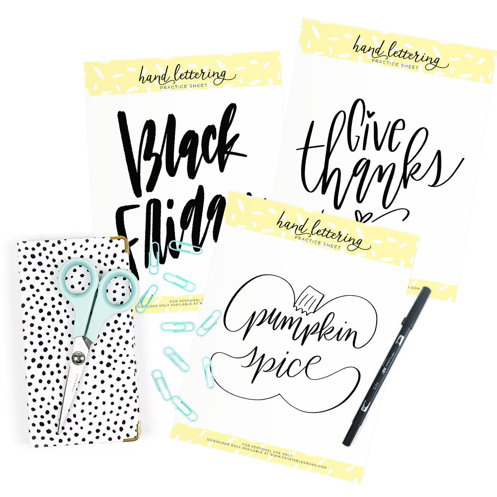 November Hand Lettering Worksheets