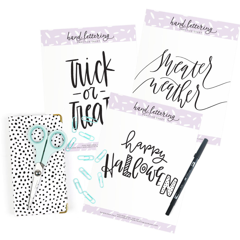 October Hand Lettering Worksheets