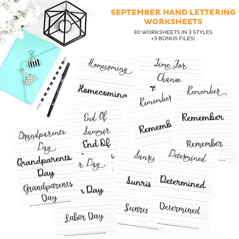 September Hand Lettering Worksheets