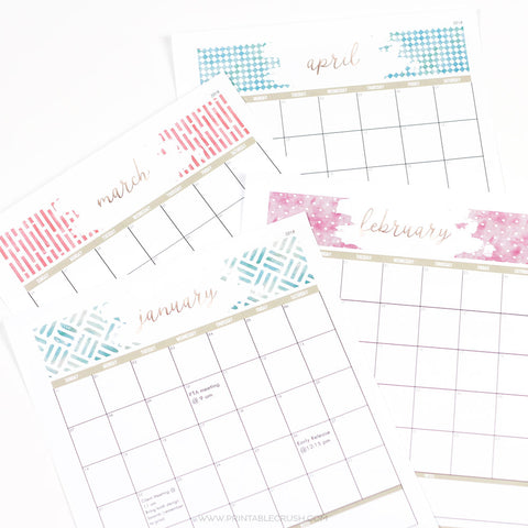 Watercolor Editable 2018 Monthly Calendar
