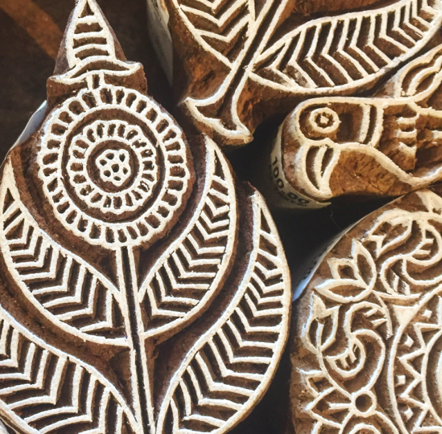 hand carved rajisthani wooden block peacock feather bird mandala
