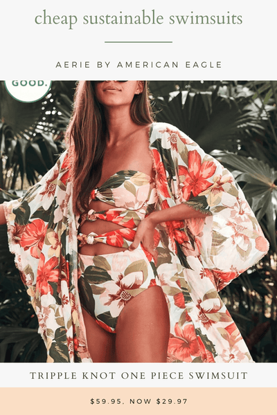 sustainable swimwear cut out one piece in floral pattern
