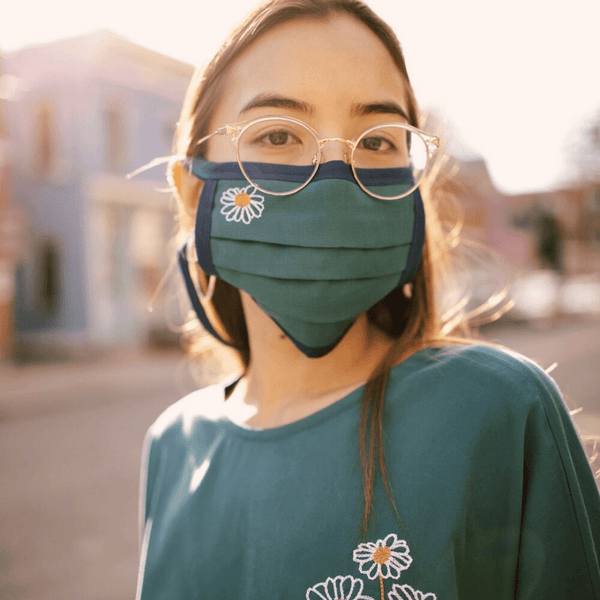 miranda watson reusable mask embroidered with flower and matching shirt