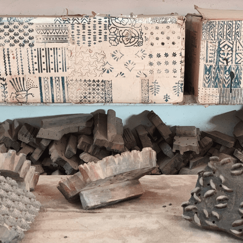 hand carved wooden blocks for block printing in bagru