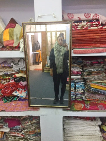 melanie disalvo in jaipur with deadstock fabric