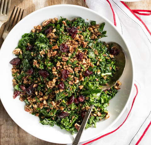 vegan holiday kale salad with cranberries