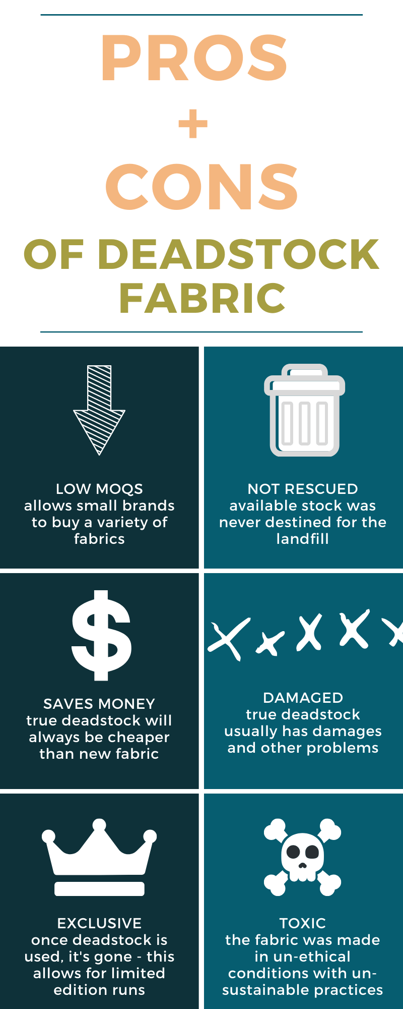deadstock fabric pros and cons infographic