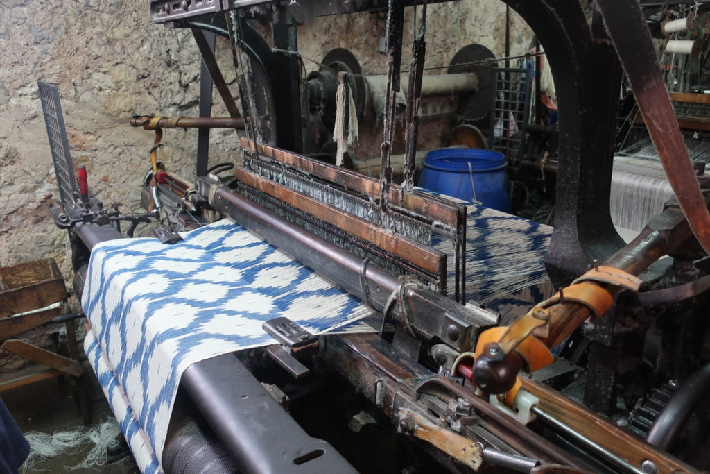 ikat loom blue diamond pattern