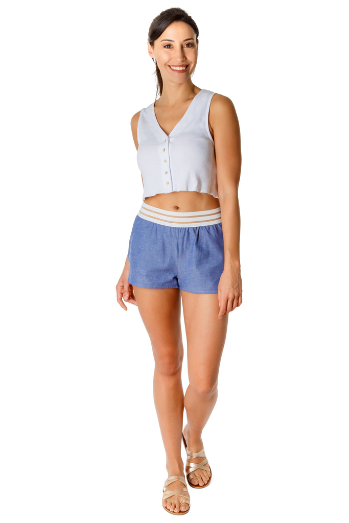 VADA - organic cotton chambray shorts - Virtue + Vice